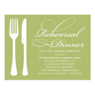 GREEN FLATWARE | REHEARSAL DINNER INVITE POSTCARD