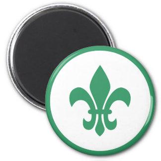 Green Fleur de Lis 2 Inch Round Magnet