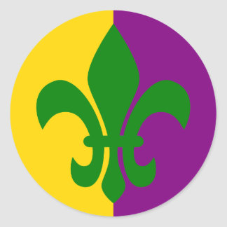 Green Fleur de Lis Classic Round Sticker