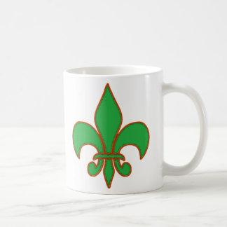 Green Fleur de Lis Coffee Mug