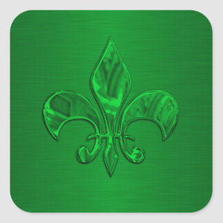 Green Fleur de Lis Envelope Seal Square Sticker