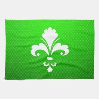 Green Fleur de lis Hand Towels