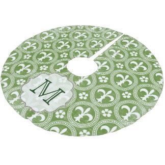 Green Fleur De Lis Monogram Initial Tree Skirt