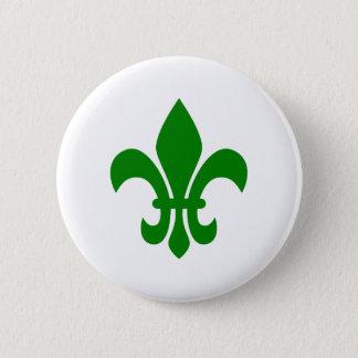 Green Fleur de Lis Pinback Button