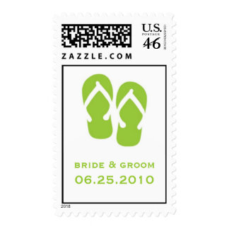 Green flip flop save the date wedding postage