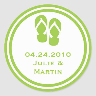 Green flip flop thong wedding favor tag seal label