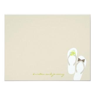 Green Flip Flops Beach Fun Wedding Thank You Card