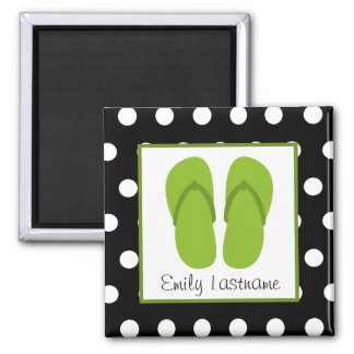 Green Flip Flops / Black With White Polka Dots 2 Inch Square Magnet