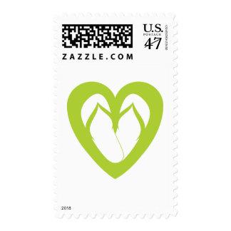 Green flip flops design 1 postage