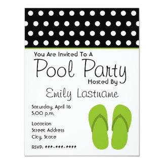 Green Flip Flops / Polka Dots Pool Party Card