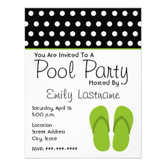 Green Flip Flops / Polka Dots Pool Party Personalized Invite