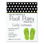 Green Flip Flops / Polka Dots Pool Party 4.25x5.5 Paper Invitation Card