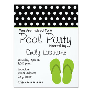 "Green Flip Flops / Polka Dots Pool Party 4.25"" X 5.5"" Invitation Card"