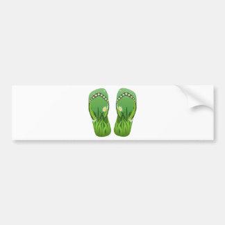 Green Flip-Flops/Thongs Bumper Sticker