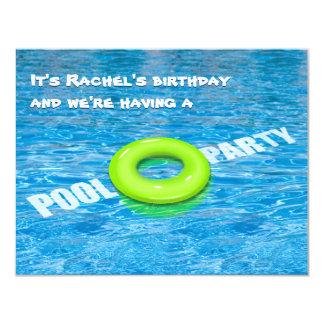Green Floatie Pool Party Card