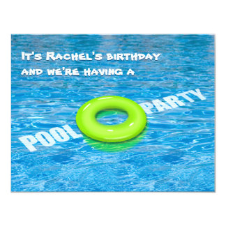 Green Floatie Pool Party 4.25x5.5 Paper Invitation Card