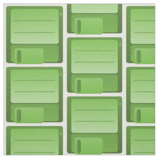 Green Floppy Disk Pattern Fabric