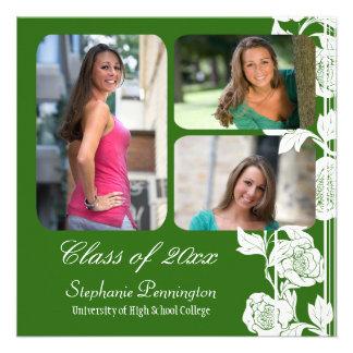 Green floral 3 photo graduation party announcement