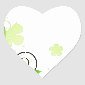 green floral abstract heart sticker