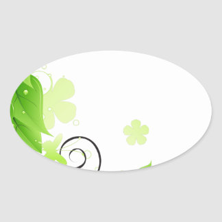 green floral abstract oval sticker