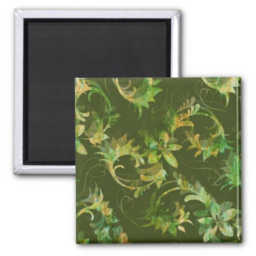 Green Floral and Foliage Nature Batik Print Gifts 2 Inch Square Magnet