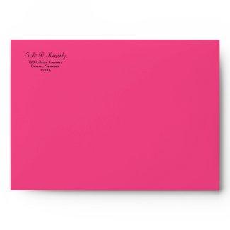 Green Floral and Hot Pink A-7 Envelope envelope