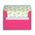 Green Floral and Hot Pink A-7 Envelope