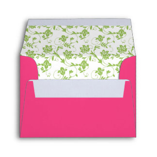 Green Floral and Hot Pink RSVP A-2 Envelope