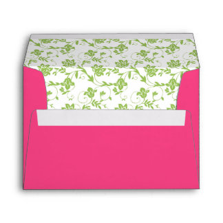 Green Floral and Hot Pink Wedding Address A7 Envelope