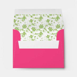 Green Floral and Hot Pink Wedding RSVP A2 Envelope