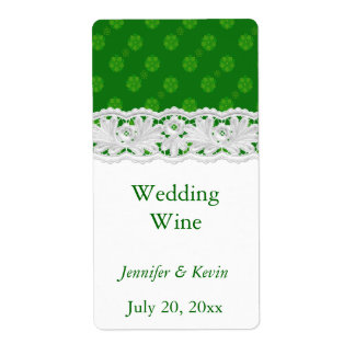 Green Floral and Lace Wedding Mini Wine Label