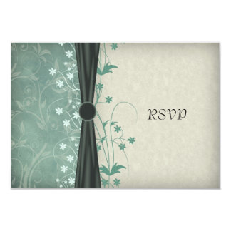 Green Floral and Off White Wedding RSVP Cards