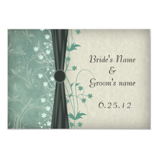Green Floral and Off White Wedding Save the Date 3.5x5 Paper Invitation Card