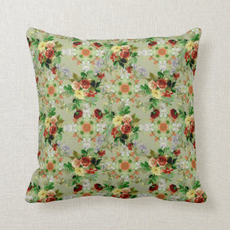 Green Floral and Red Roses Throw Pillow