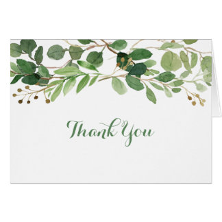 Green Floral Baby Shower Thank You Card