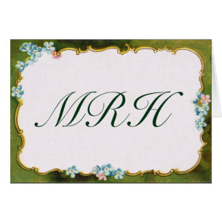 Green Floral Bordered Vintage French Note Card