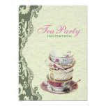 "Green Floral Bridal Shower Tea Party Invitation 5"" X 7"" Invitation Card"