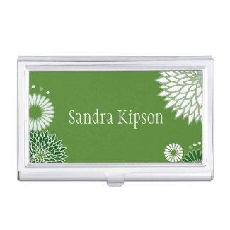 Green Floral Business Card Holder