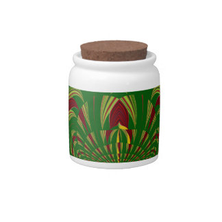Green Floral Candy Jars