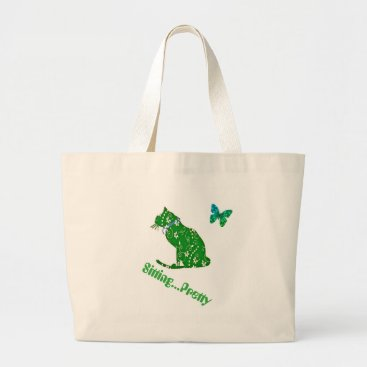 Beach Themed Green Floral Cat Jumbo Beach or Shopping Tote