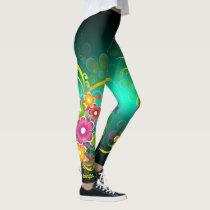 Green Floral Custom Name Leggings Yoga Pants