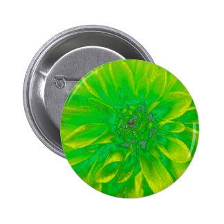 Green Floral Dahlia Flower Pattern Pinback Buttons