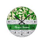 Green floral damask clock