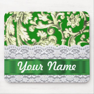 Green floral damask mouse pad