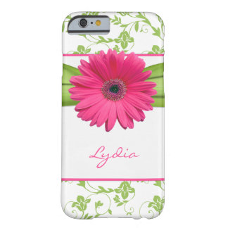 Green Floral Damask Pink Gerber Daisy Barely There iPhone 6 Case