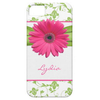 Green Floral Damask Pink Gerber Daisy iPhone 5 iPhone 5 Covers