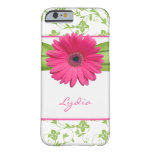 Green Floral Damask Pink Gerber Daisy iPhone 6 cas Barely There iPhone 6 Case