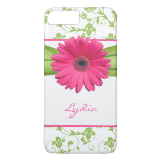 Green Floral Damask Pink Gerber Daisy iPhone 7 Plus Case