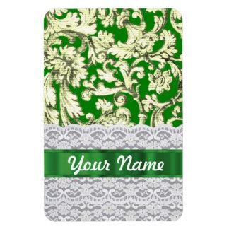 Green floral damask rectangular photo magnet