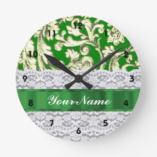 Green floral damask round clock